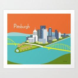 Pittsburgh, Pennsylvania - Skyline Illustration by Loose Petals Art Print