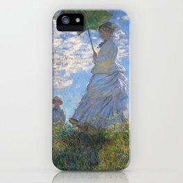 1875-Claude Monet-Woman with a Parasol - Madame Monet and Her Son-81 x 100 iPhone Case