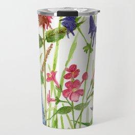Garden Flowers Botanical Floral Watercolor on Paper Travel Mug