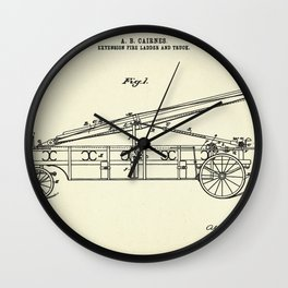 Extension Fire Ladder and Truck-1895 Wall Clock
