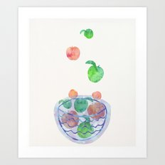 Red and Green Magic Apples in the Bowl Art Print