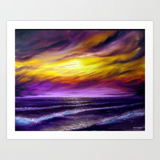 Violet ocean, oil painting Art Print