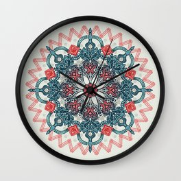 Coral & Teal Tangle Medallion Wall Clock