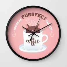You're my Purrfect cup of Coffee Cat Wall Clock
