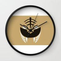 power rangers Wall Clocks featuring White Rangers Remix by hellostranger
