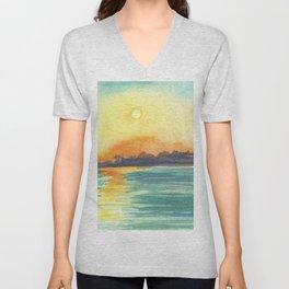 Cresent Bay Sunset Unisex V-Neck