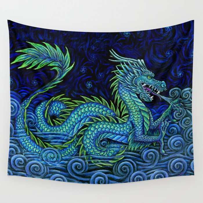 Chinese Azure Dragon Wall Tapestry By Psychedeliczen