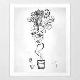 woman/flower Art Print