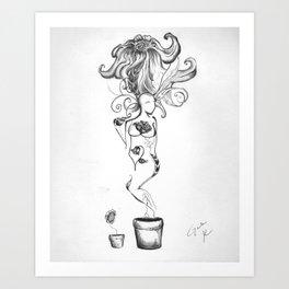 woman/flower Art Print