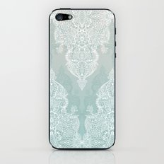 Lace & Shadows - soft sage grey & white Moroccan doodle iPhone & iPod Skin
