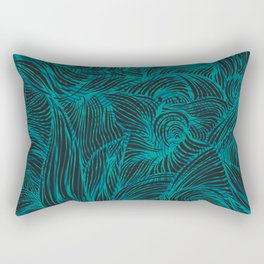 Swirl in Blue, Turquoise and Black Rectangular Pillow
