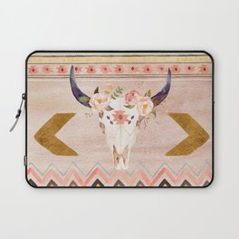 Bull Head Skull Boho Flowers Laptop Sleeve