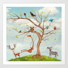 Tree with animals.Bunch of cute little creatures gathered on the branches of tree Art Print