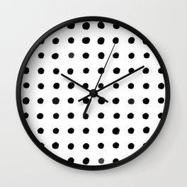 Black Water Color Dots Wall Clock