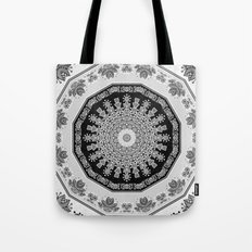 Shades of Grey - Geometric Floral Pattern Tote Bag