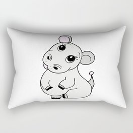Friendly and cute baby hippo drawing for children and adults Rectangular Pillow