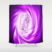 erotic Shower Curtains featuring Space and time 8  Erotic by Walter Zettl