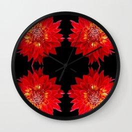 FOUR RED DAHLIAS ON  BLACK ART Wall Clock