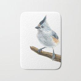 Titmouse bird watercolor Bath Mat