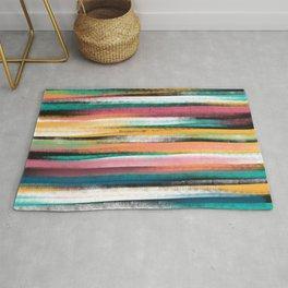 Modern Colorful Brush Strokes Stripes Oil Paint  Rug