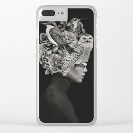 Lady with Birds(portrait) Clear iPhone Case