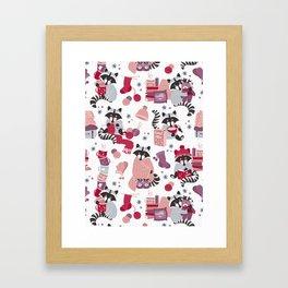 Hygge raccoon // white background Framed Art Print