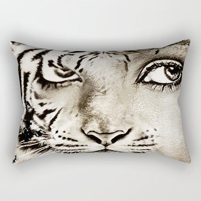 Tiger or woman Rectangular Pillow