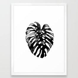 Monstera (black and white) Framed Art Print