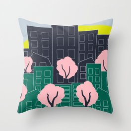 Spring Blooms in the City Throw Pillow