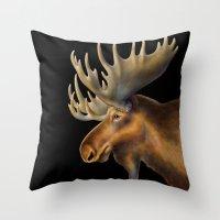 moose Throw Pillows featuring Moose by Tim Jeffs Art