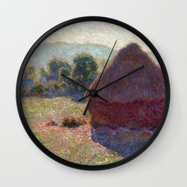 1890-Claude Monet-Meules, milieu du jour [Haystacks, midday]-65 x 100 Wall Clock