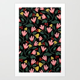 Pink Floral Pattern on Black Art Print