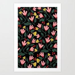 Pink Floral Pattern on Black Art Print