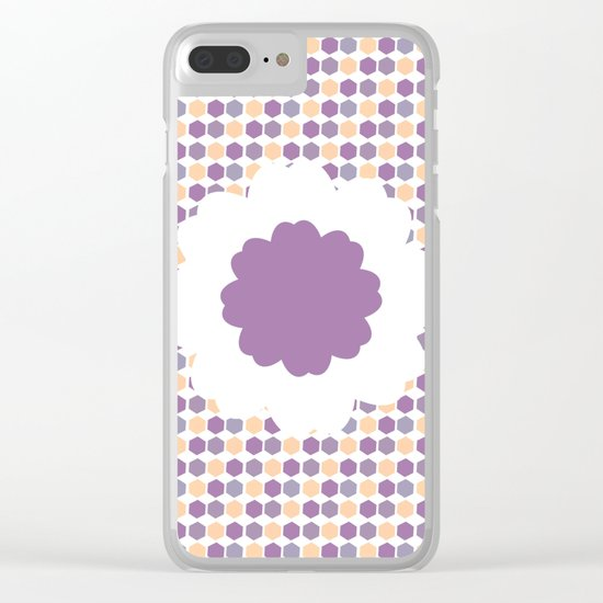 Flower and purple hexagons Clear iPhone Case