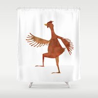 chicken Shower Curtains featuring Chicken by Jade Young Illustrations