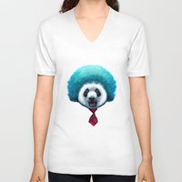 afro V-neck T-shirts featuring PANDA AFRO by ADAMLAWLESS