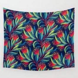 Pohutukawa - Red / Green Wall Tapestry