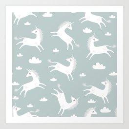 Unicorn with clouds Art Print