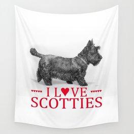 I Love Scotties Wall Tapestry