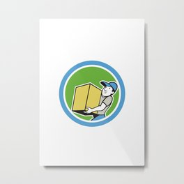Delivery Worker Carrying Package Cartoon Metal Print