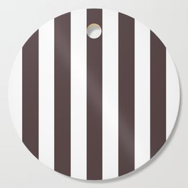 Dark puce purple - solid color - white vertical lines pattern Cutting Board