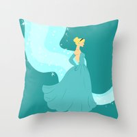 cinderella Throw Pillows featuring Cinderella by Eva Duplan Illustrations