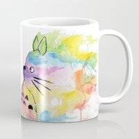 rainbow Mugs featuring My Rainbow Totoro by scoobtoobins