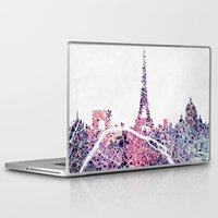 paris map Laptop & iPad Skins featuring Paris Skyline + Map #1 by Map Map Maps