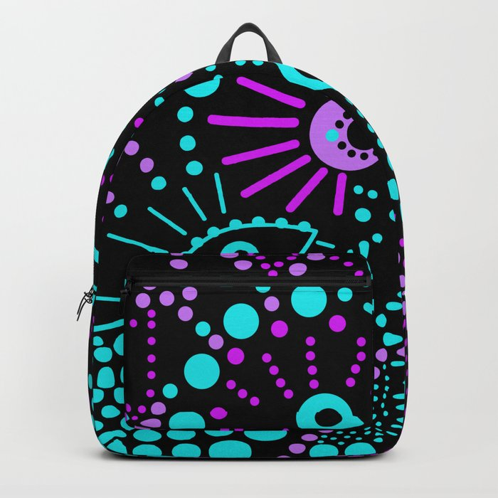 Abstract polka dot purple , black , turquoise . Backpack