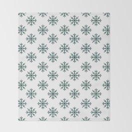 Snowflakes (Dark Green & White Pattern) Throw Blanket