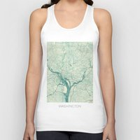 washington Tank Tops featuring Washington Map Blue Vintage by City Art Posters