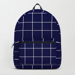 Grid Pattern Navy Blue White RGB68 Stripe Line Minimal Stripes Lines Backpack