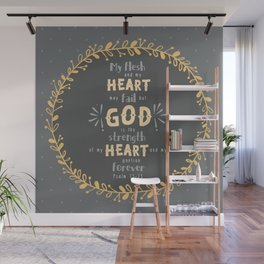 """""""Strength of my Heart"""" Hand-Lettered Bible Verse Wall Mural"""