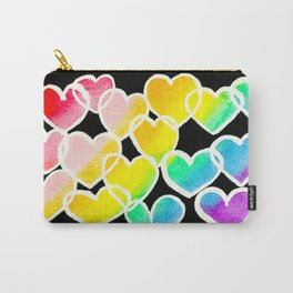 rainbow hearts in black and white Carry-All Pouch